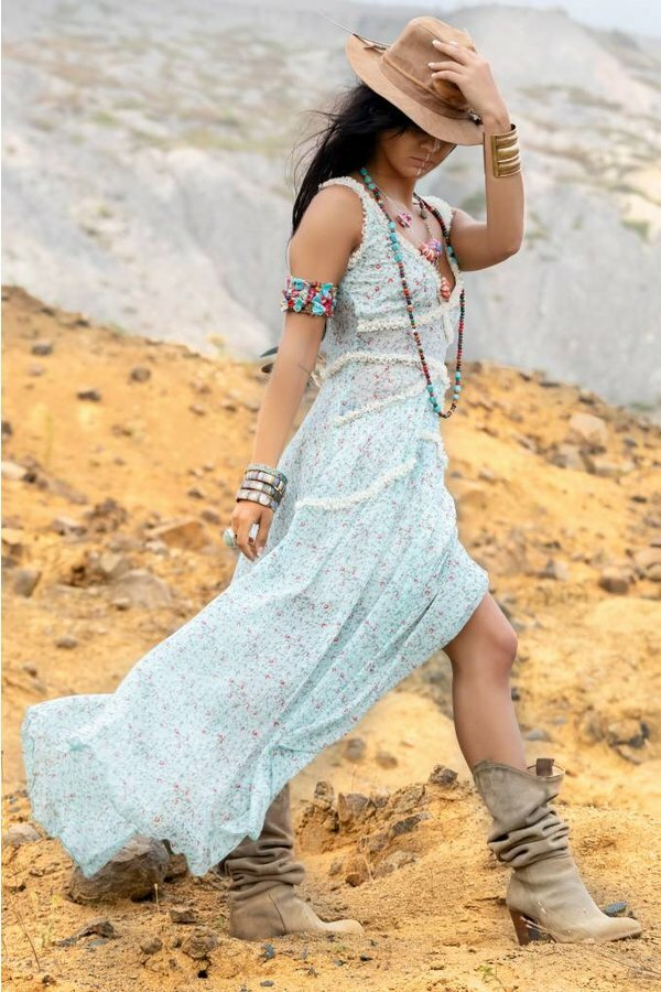 Savage Culture: Baby Roses Boho Chic Riverside Maxi Dress SAVAGE_36081