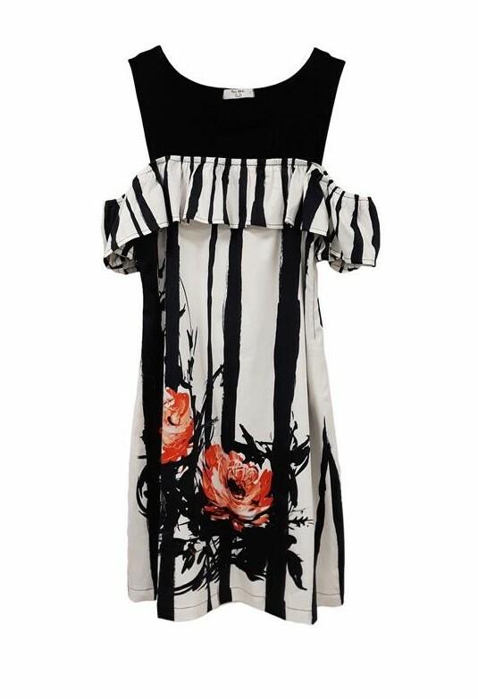Paul Brial: Wild Orange Rose Cold Shoulder Ruffled Midi Dress