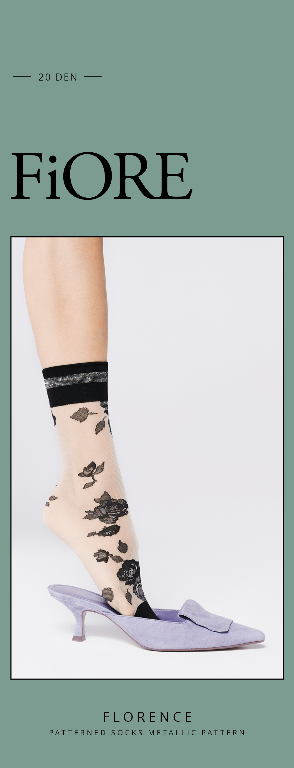 Fiore: Black Rose of Florence Trouser Socks SOLD OUT