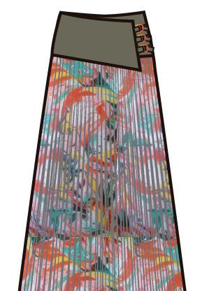 Paul Brial: Tropical Champagne Art Midi Skirt