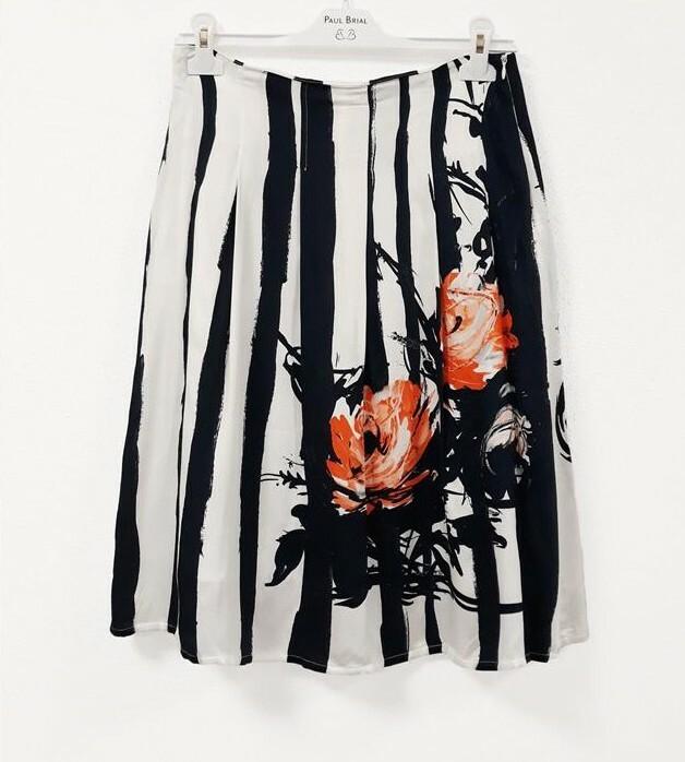 Paul Brial: Wild Orange Rose Flared Tuxedo Midi Skirt PB_PINCEAU