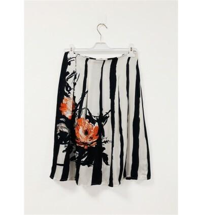 Paul Brial: Wild Orange Rose Flared Tuxedo Midi Skirt