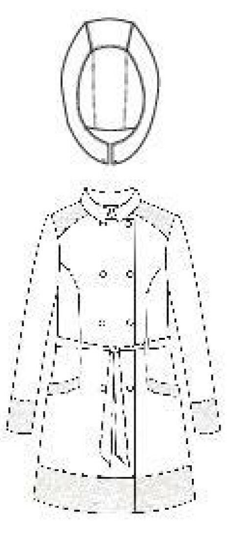 Rosette Cotton Rain Coat  sketch