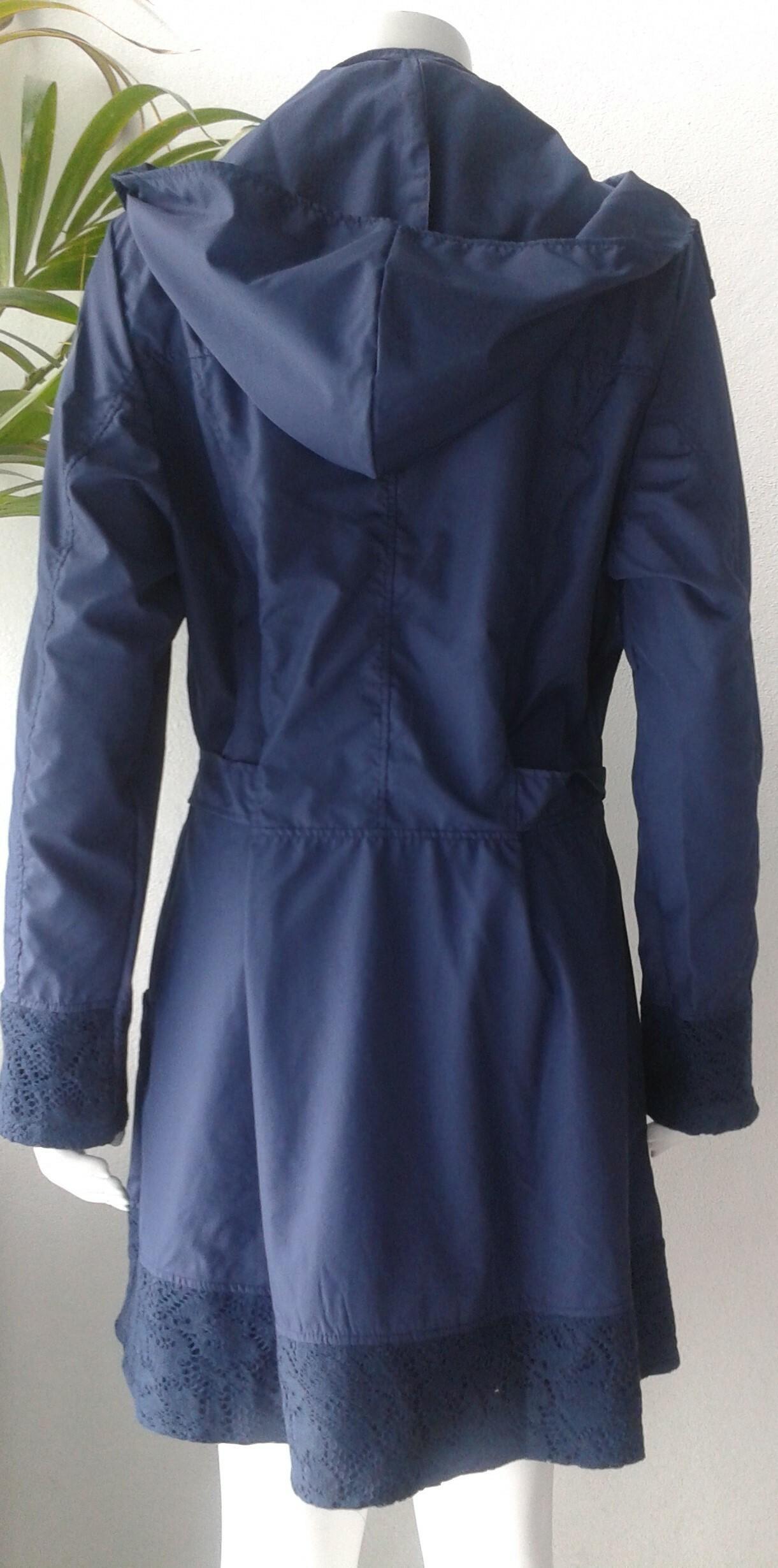 Rosette Cotton Rain Coat  indigo back