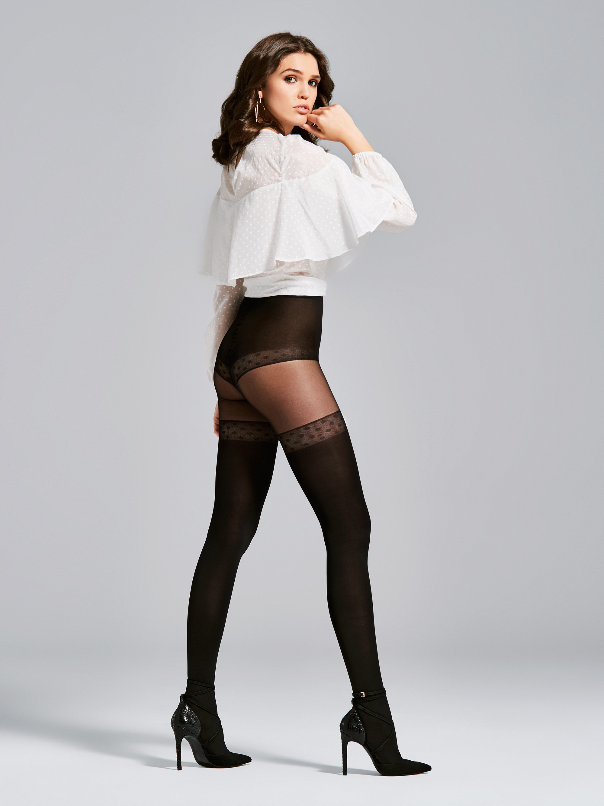 Fiore: Seduction Patterned Opaque Microfibre Tights FIO_SOLEIL_N