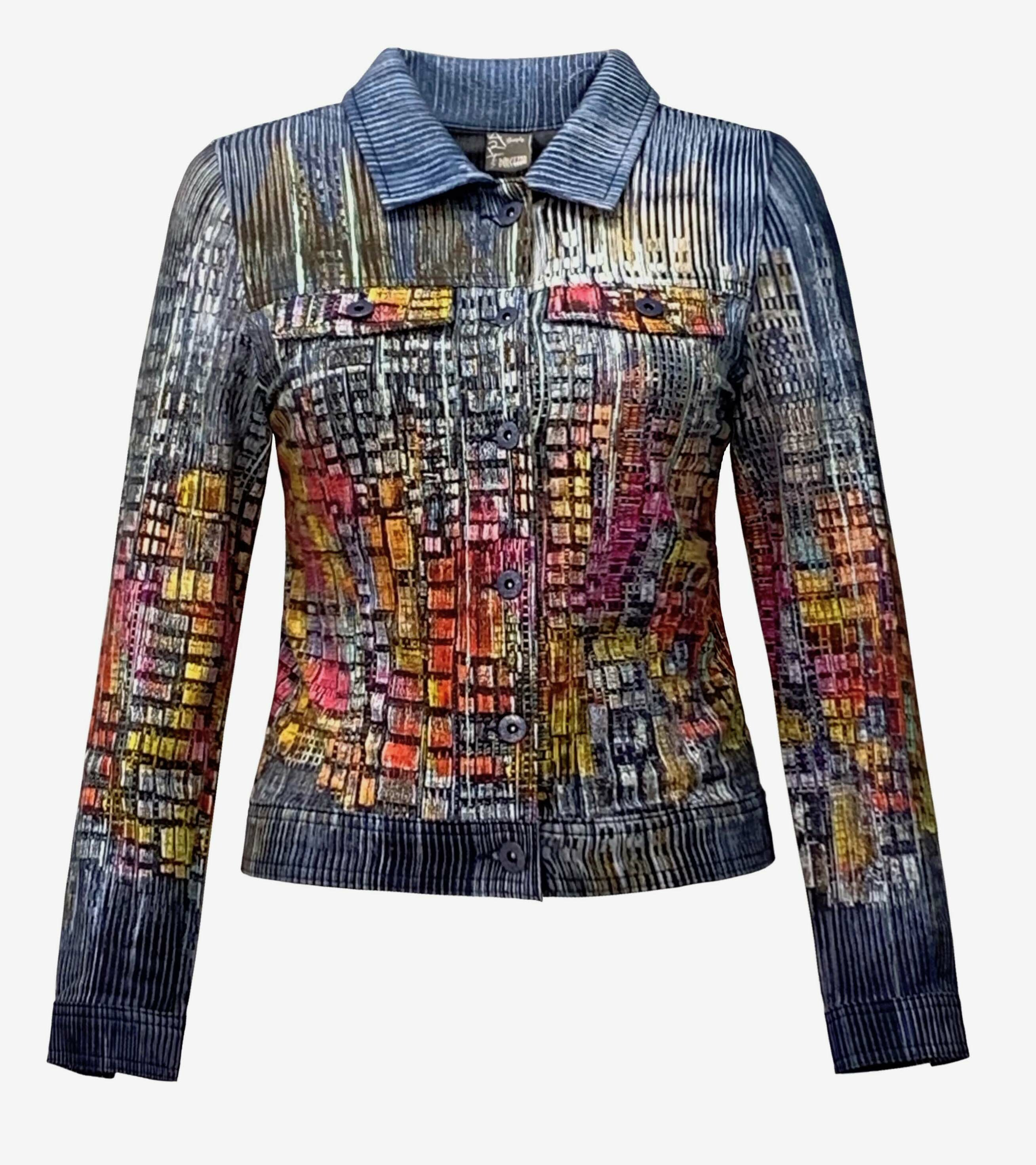 Simply Art Dolcezza: Papillons Of The Night Abstract Art Soft Denim Jacket SOLD OUT Dolcezza_SimplyArt_59735_N