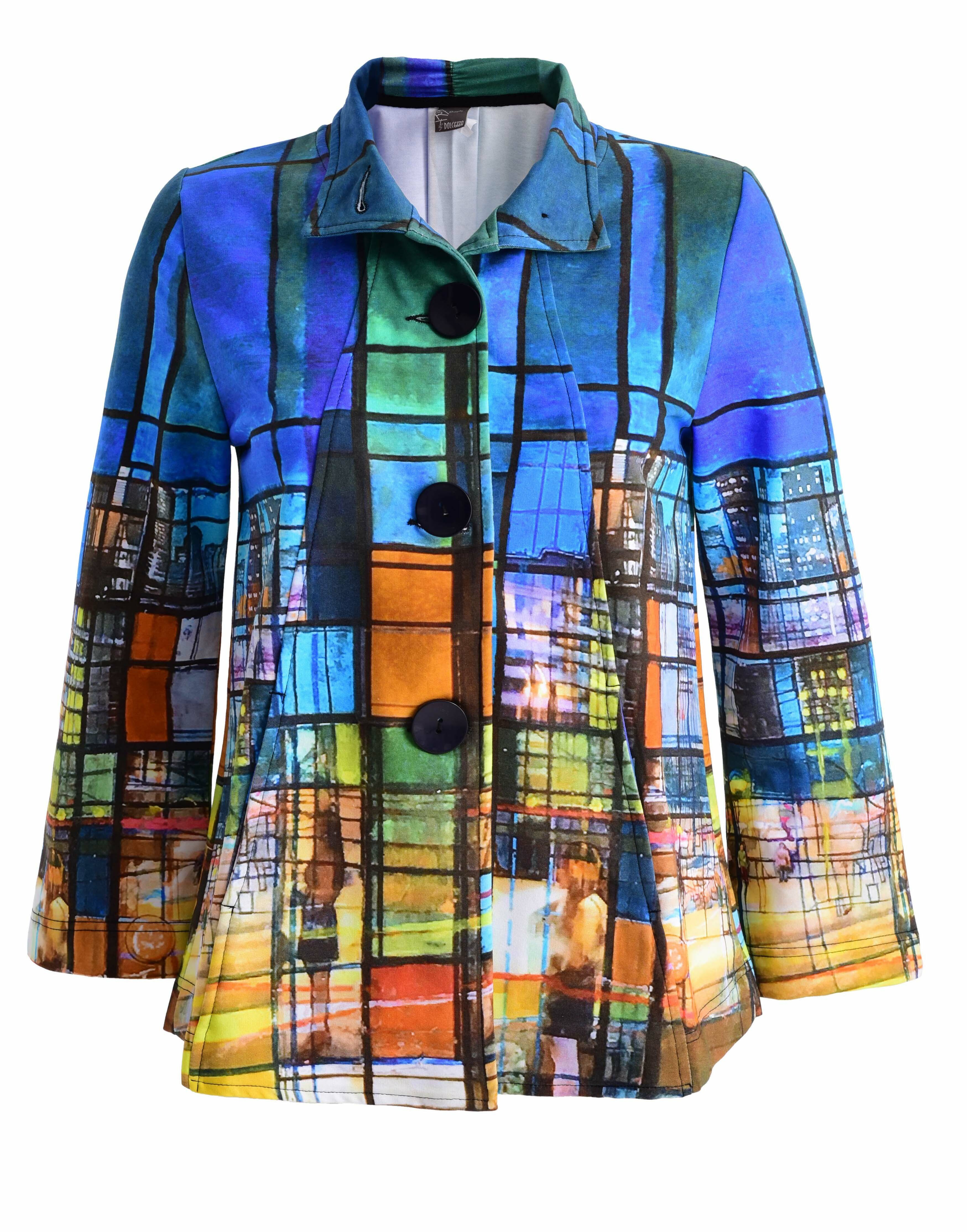 Simply Art Dolcezza: Colors Of Ville La Nuit Abstract Art Swing Coat (1 Left!) Dolcezza_SimplyArt_59717