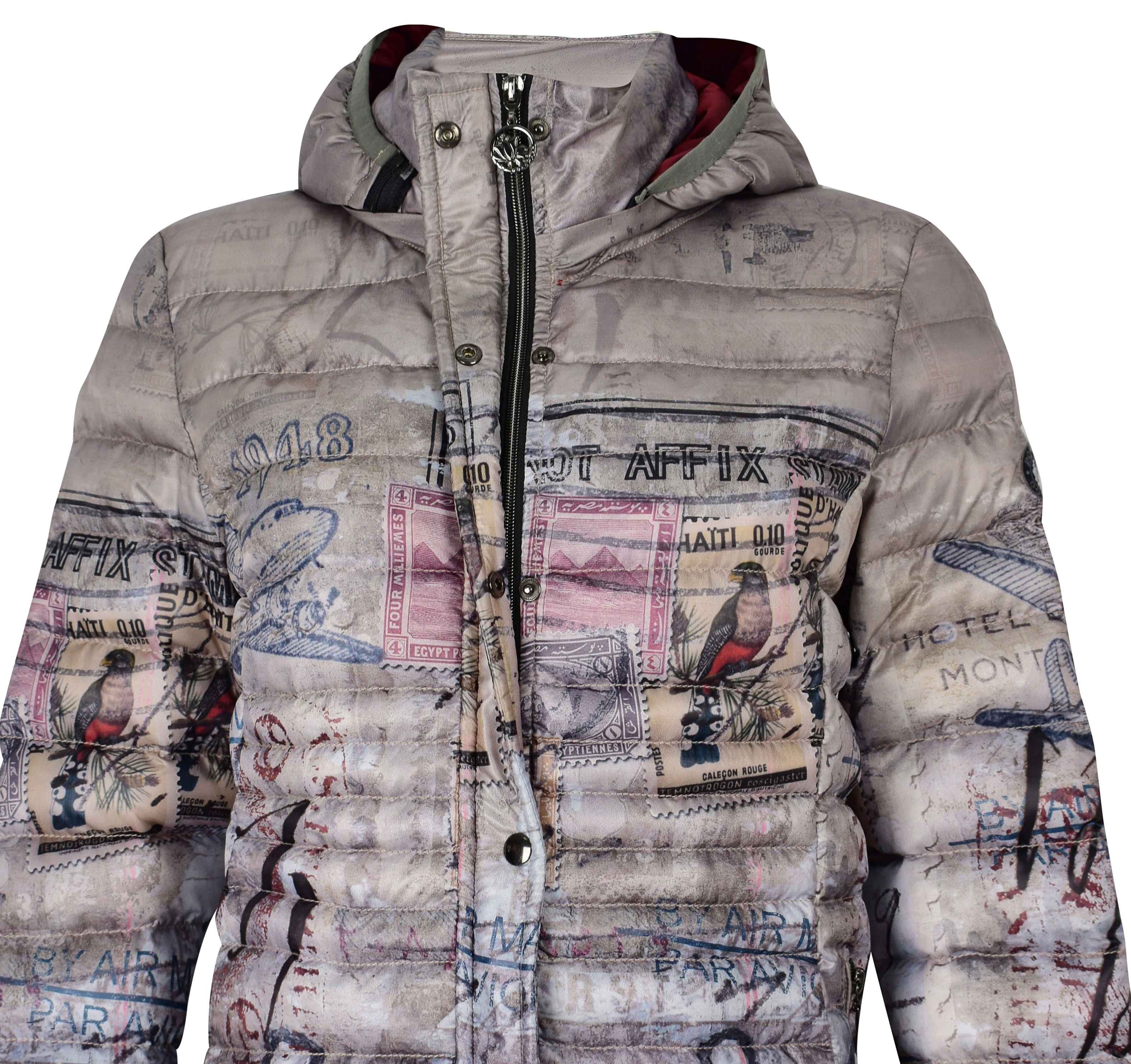 Simply Art Dolcezza: Do Not Affix Stamp Graffiti Abstract Art Puffer Coat SOLD OUT