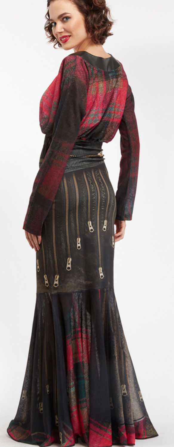IPNG: Biker Chic Let It Snow Plaid Zip Illusion Long Ruffled Skirt (Some Ship Immed!)