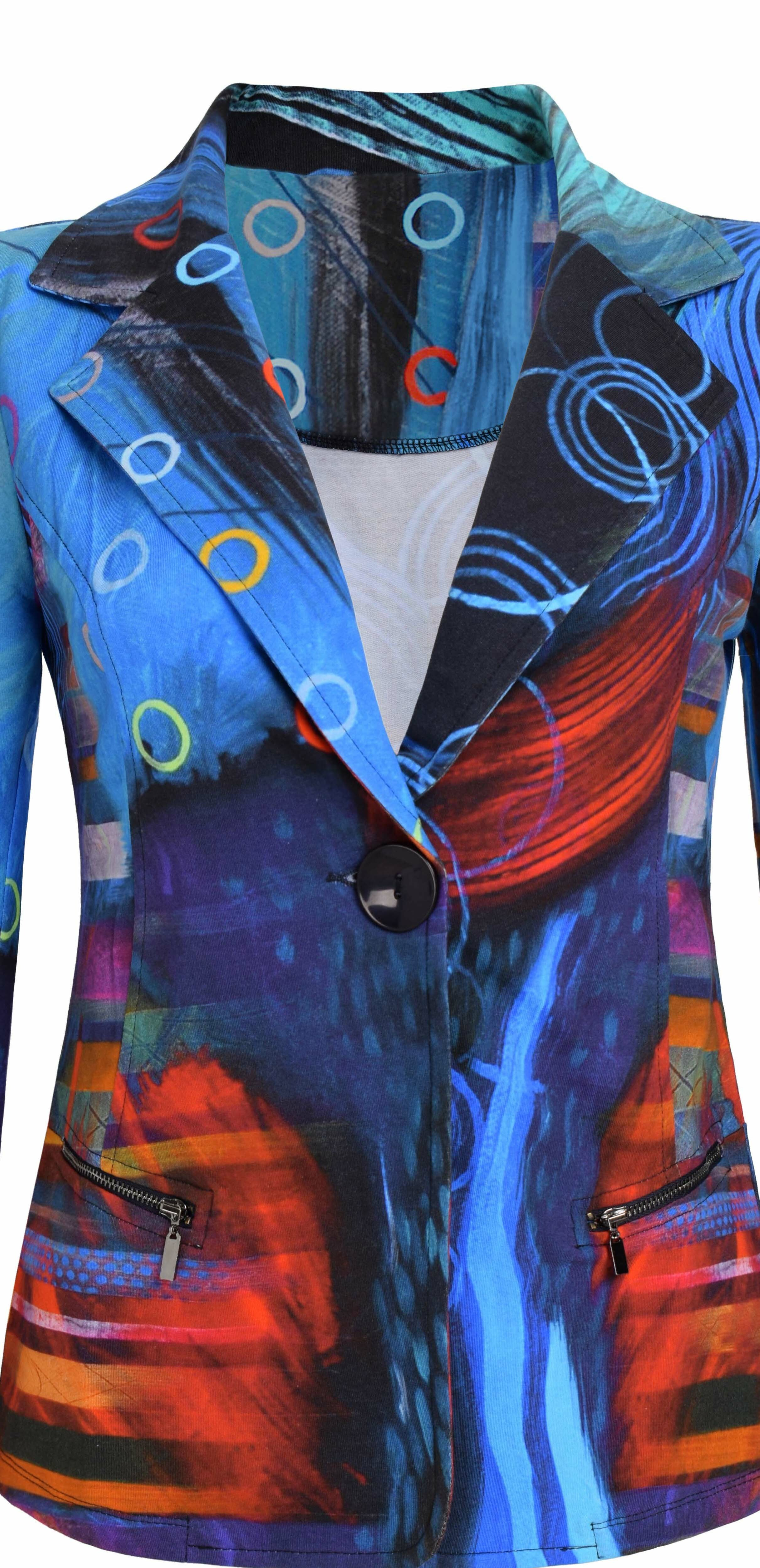 Simply Art Dolcezza: Distilling Colors Of Beauty Zip Pocket Abstract Art Blazer (1 Left!)