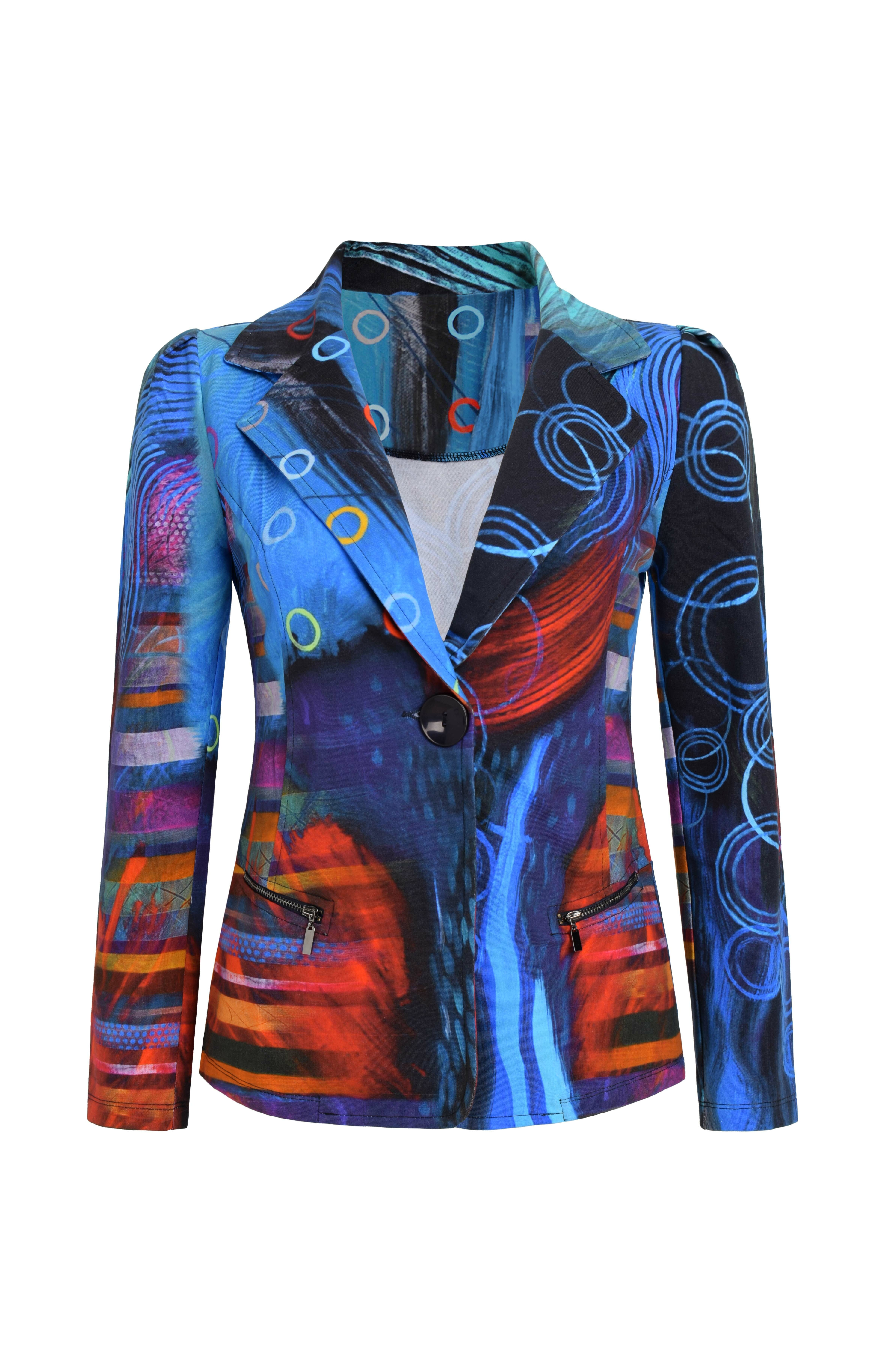 Simply Art Dolcezza: Distilling Colors Of Beauty Zip Pocket Abstract Art Blazer (1 Left!) Dolcezza_SimplyArt_59627