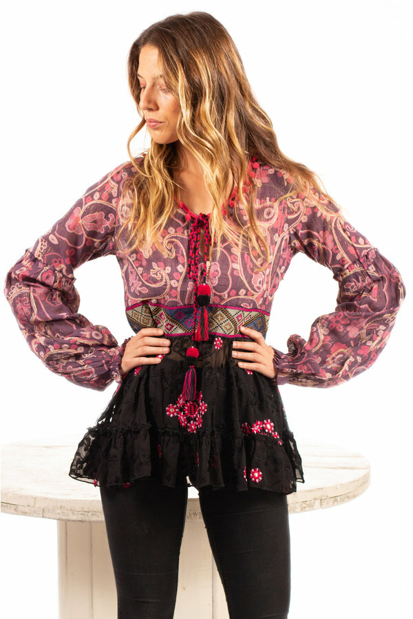 Savage Culture: Pink Pom Pom Puffed Sleeves Tunic SOLD OUT