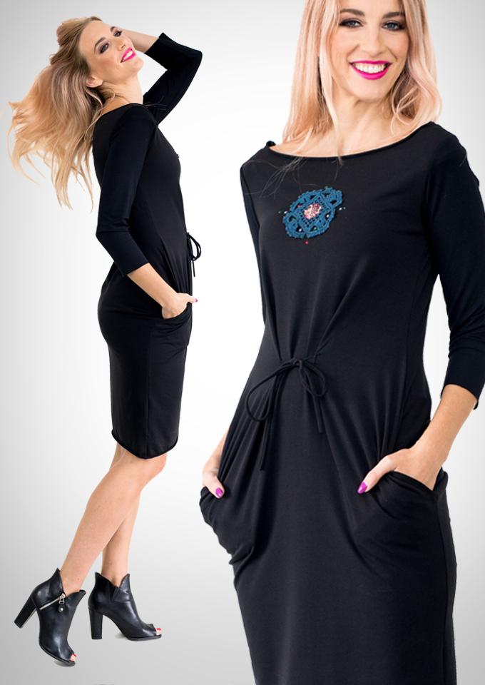 Wild Curves: Jupiter Flower Hanging Pockets Eco-Cotton Midi Dress SOLD OUT