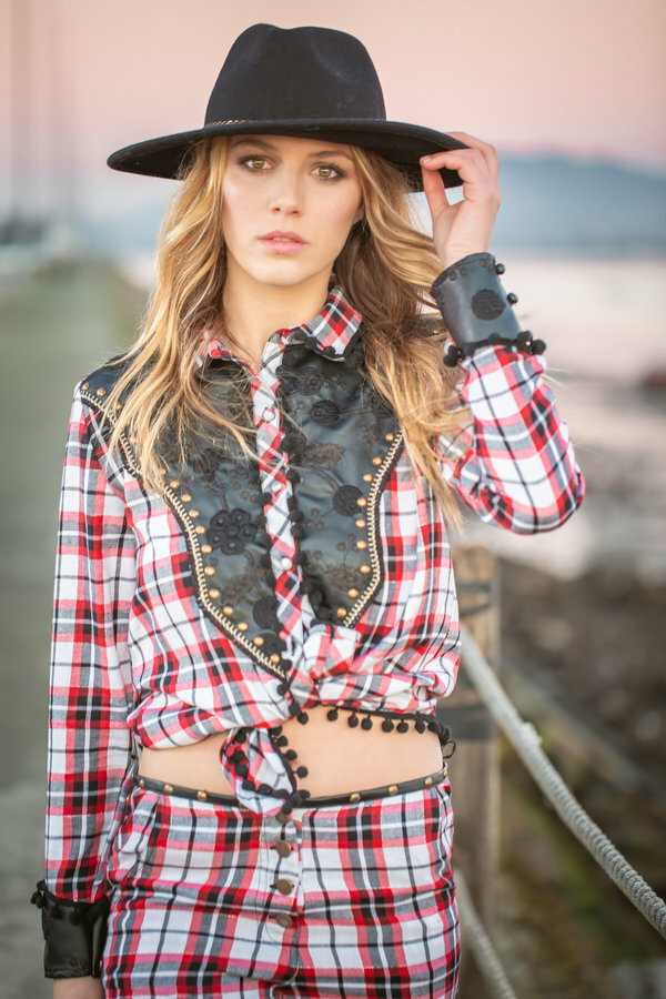 Savage Culture: Checkered Vegan Leather Collared Blouse SAVAGE_37070