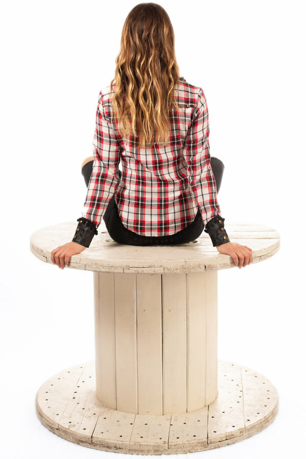 Savage Culture: Checkered Vegan Leather Collared Blouse