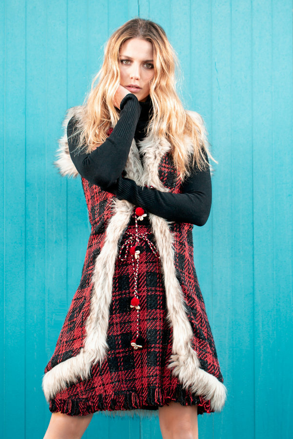 Savage Culture: Venetian Red Checkered Faux Fur Long Vest SAVAGE_37011
