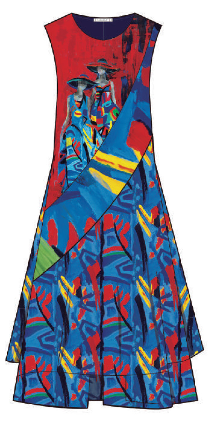 Maloka: Colors Of Picasso's Gypsy Beauty Abstract Art Midi Sundress