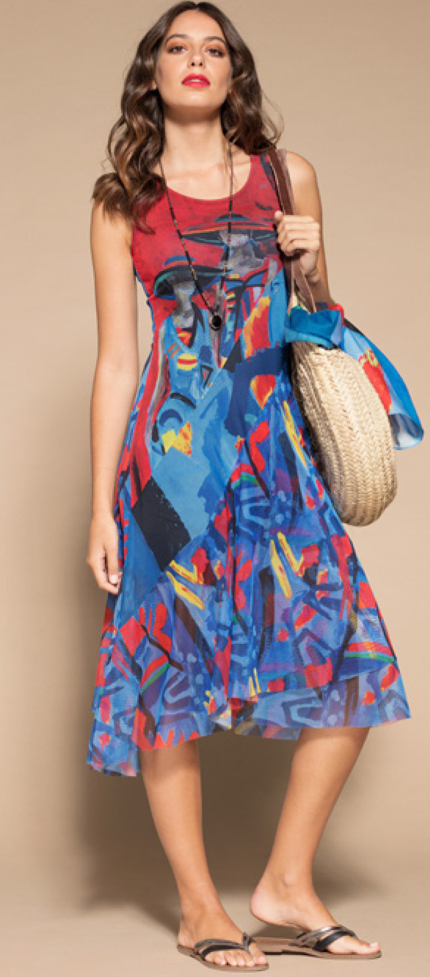 Maloka: Colors Of Picasso's Gypsy Beauty Abstract Art Midi Sundress MK_GAUDI_N1
