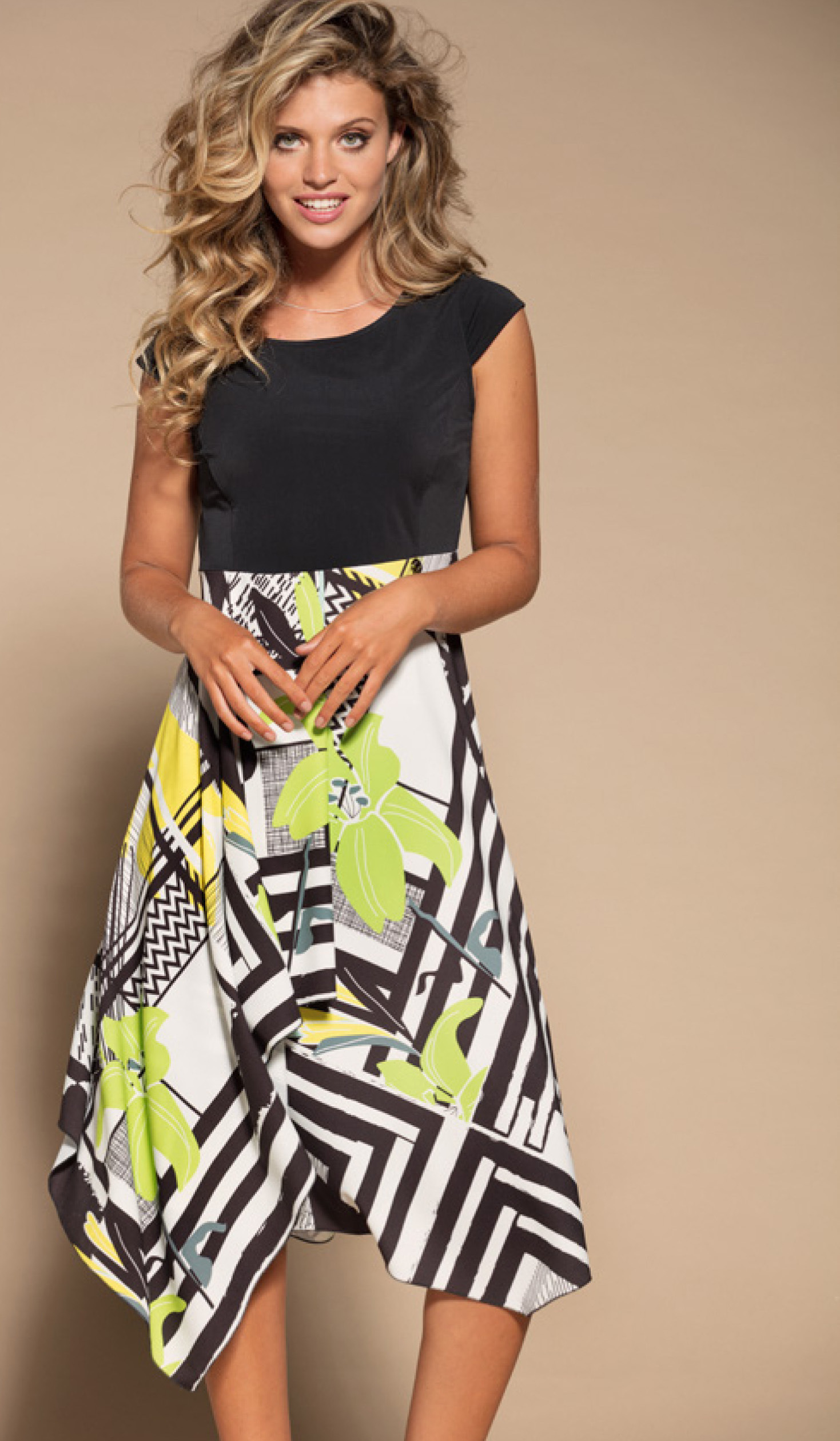 Maloka: Lemon Lime Marble High Waisted Asymmetrical Midi dress MK_NELY_N1