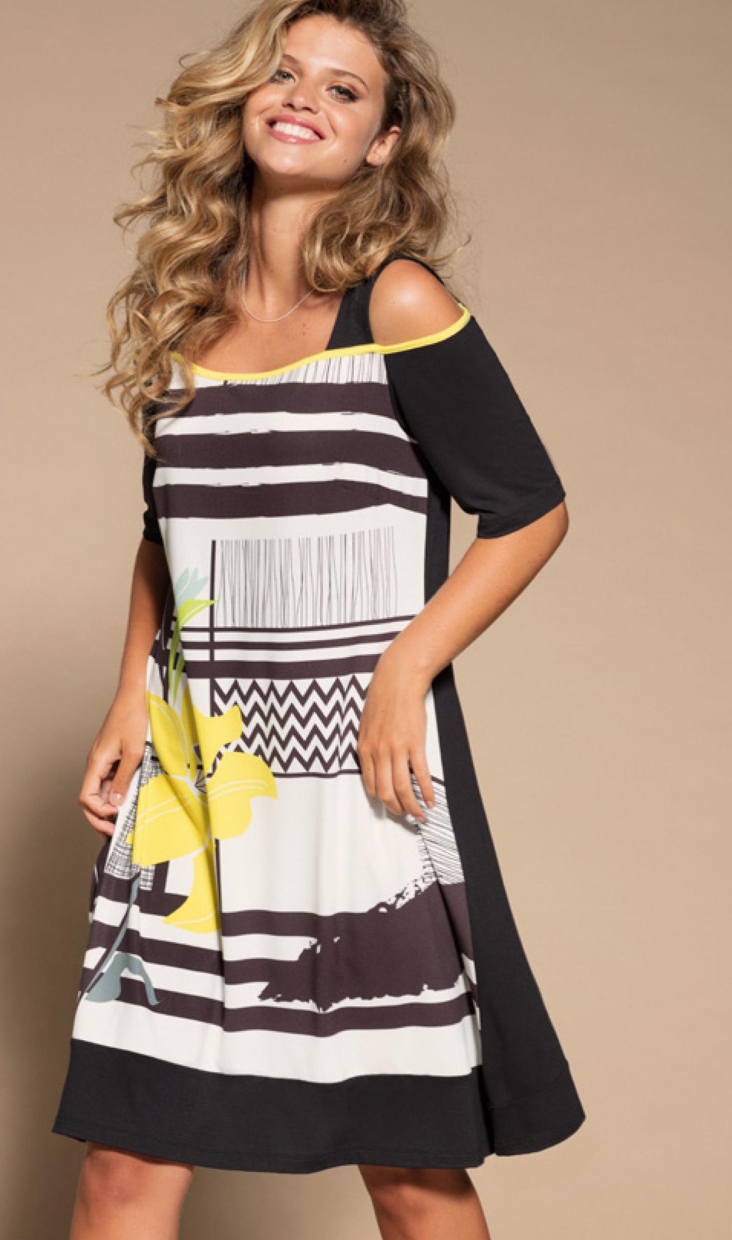 Maloka: Lemon Lime Marble Cold Shoulder Dress/Tunic (1 Left!) MK_NAEMI_N