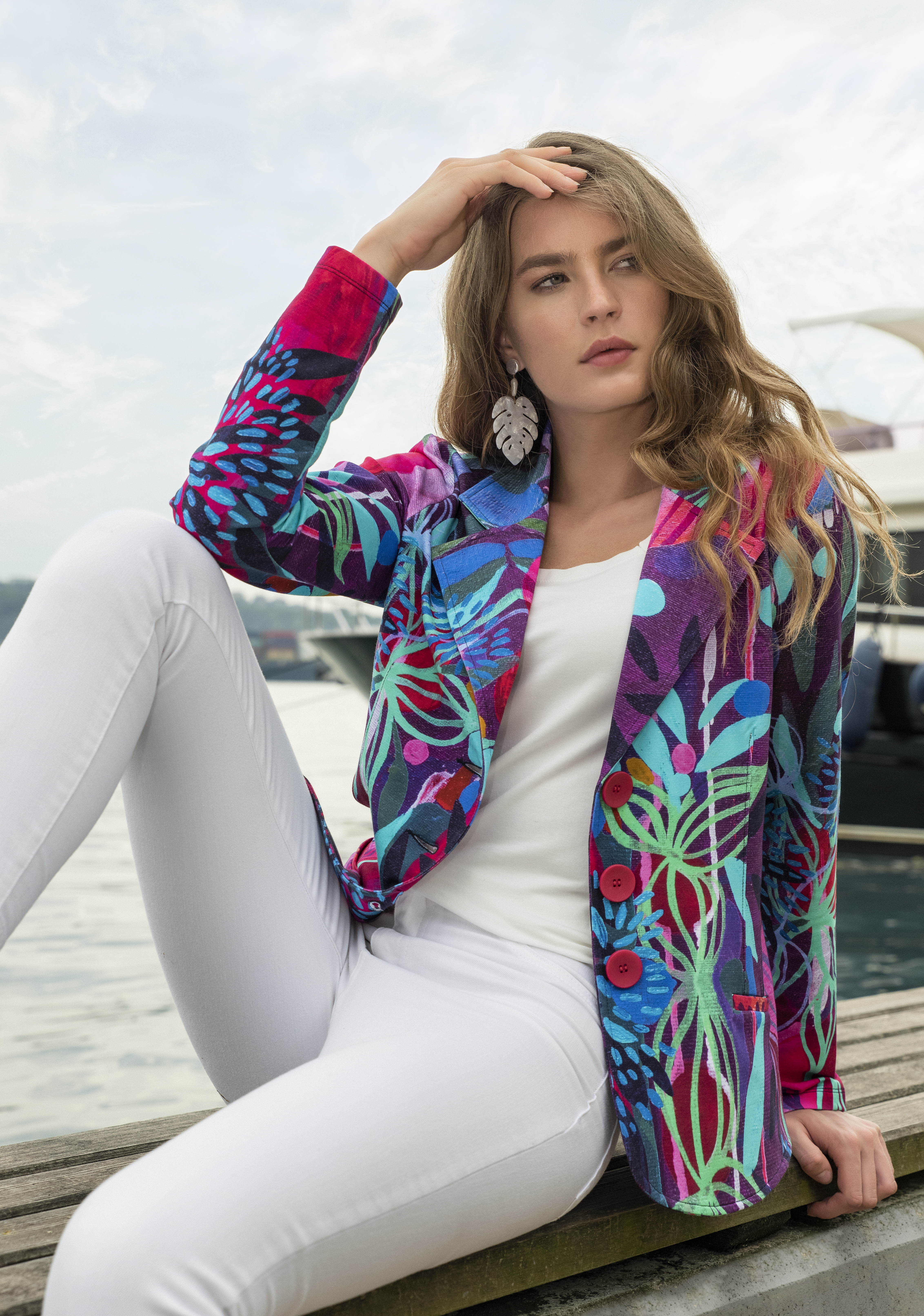 Simply Art Dolcezza: Color & Joy Tangle Of Leaves Abstract Art Blazer (2 Left!)