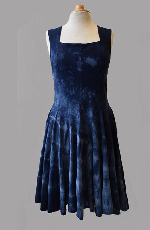 Luna Luz: Square Neck Godet Dyed Tank Dress (Ships Immed in Blue Marble, Navy Shoreline, Aqua Shoreline!) LL_B5533T_N5