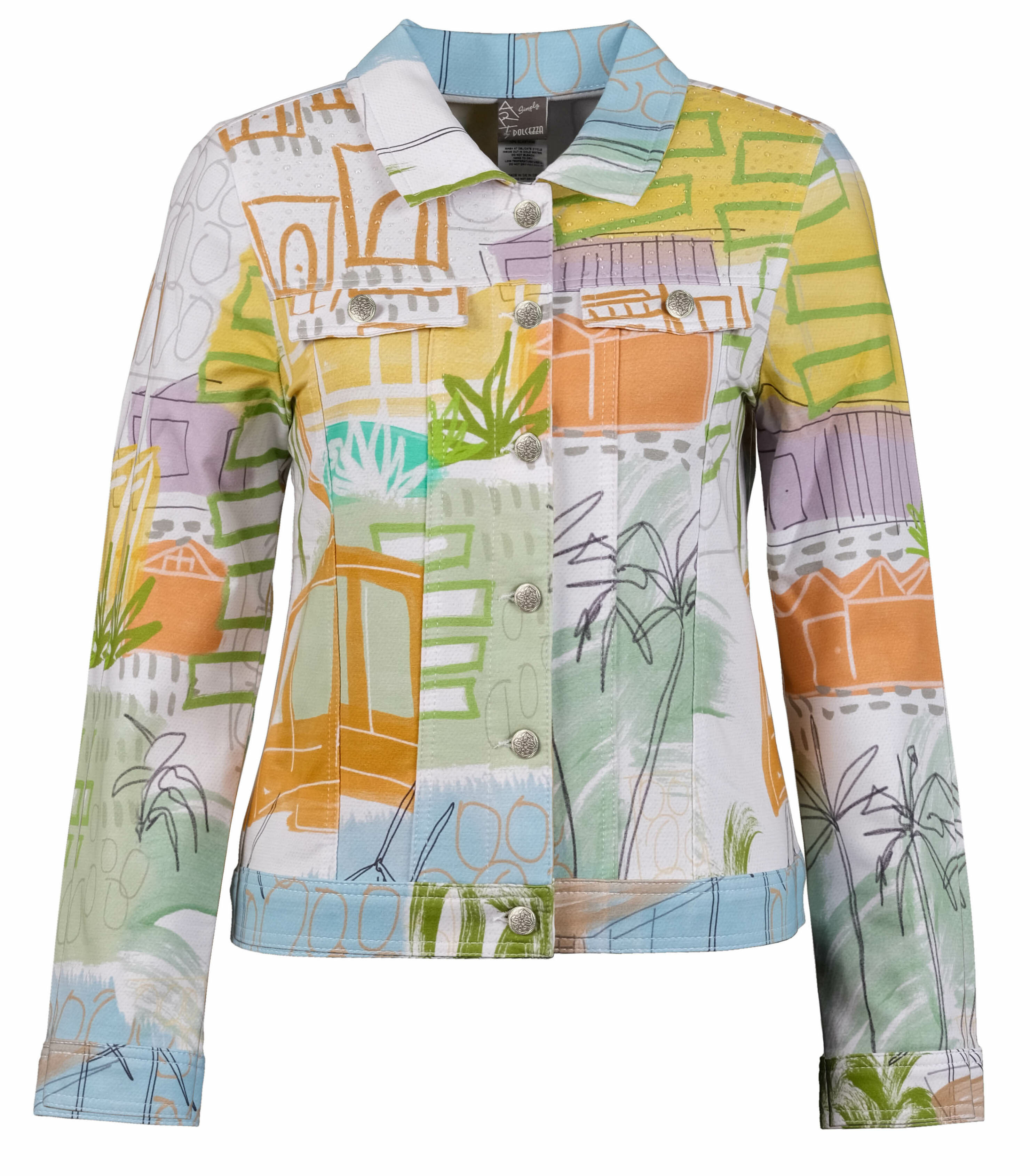 Simply Art Dolcezza: Palm Springs Cityscape Abstract Art Denim Jacket Dolcezza_SimplyArt_20668_N