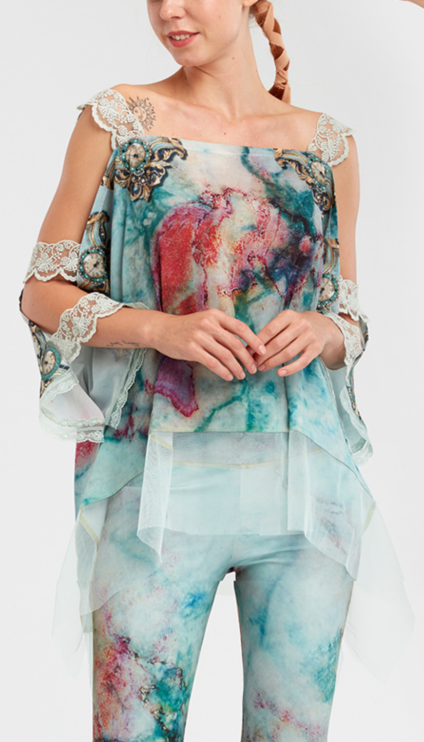 IPNG: Inna Me Rose Reflection Illusion Shawl Blouse Tunic (Ships Immed, 1 Left!) IPNG_TIMSB-044_N