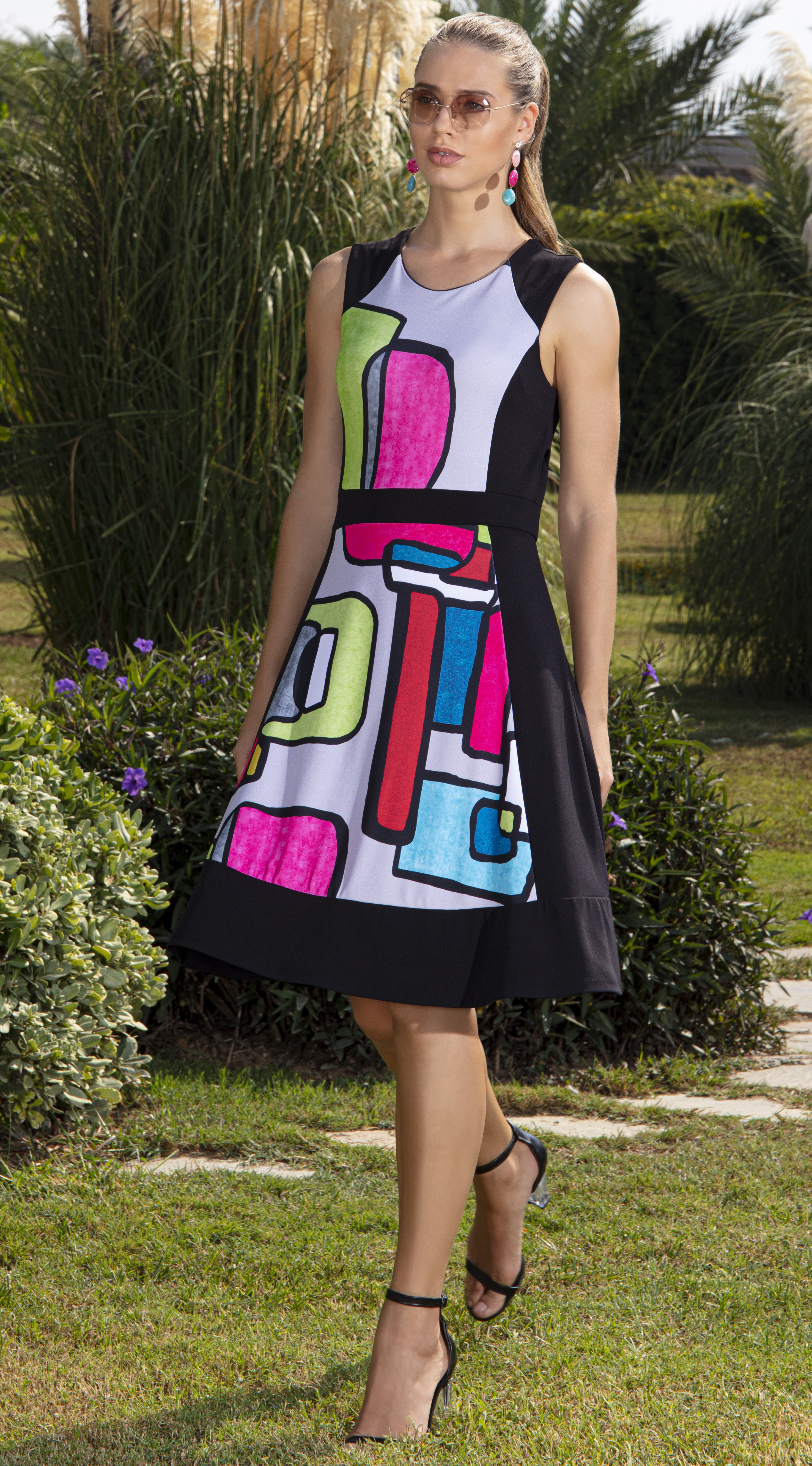Simply Art Dolcezza: Mid Century Vibrant Romance Abstract Art Dress DOLCEZZA_SIMPLYART_20636_N