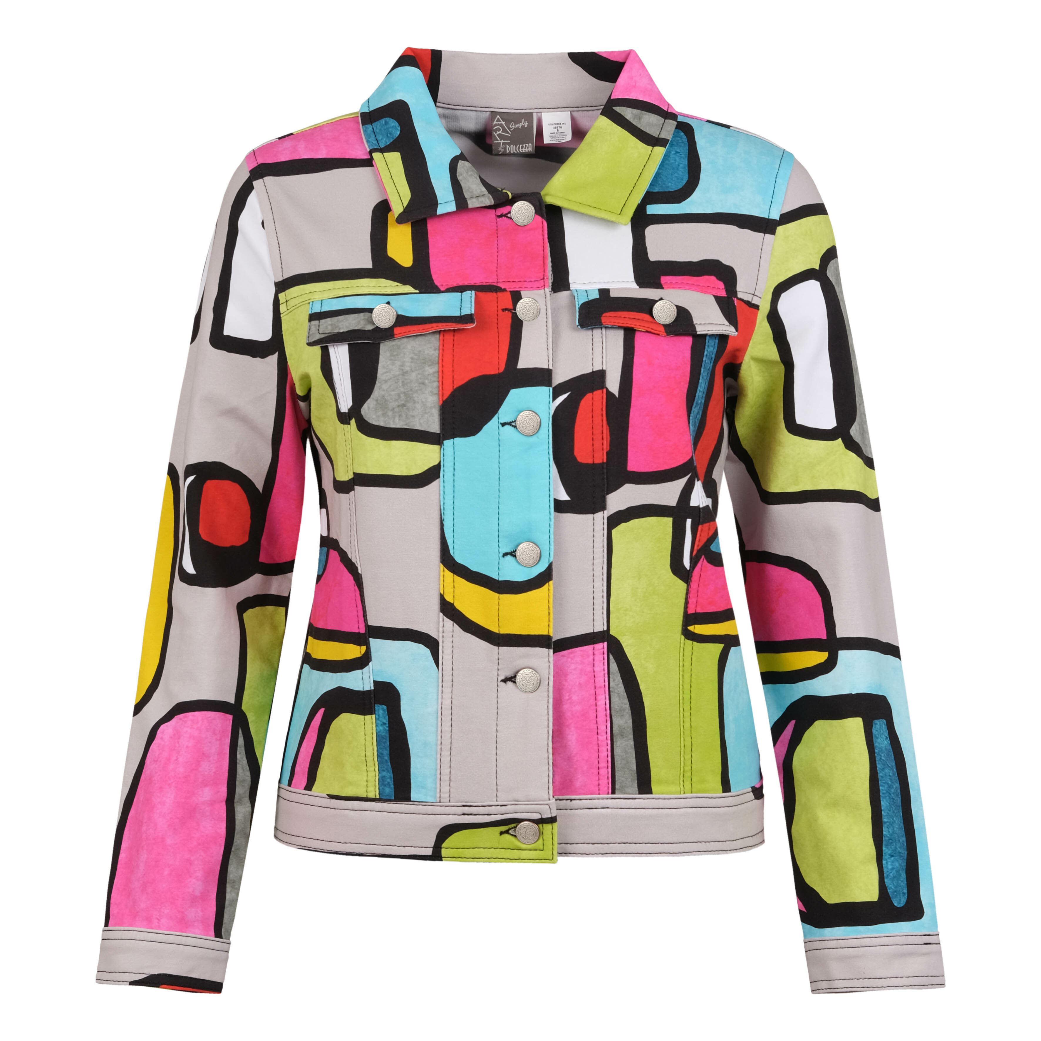 Simply Art Dolcezza: Mid Century Vibrant Romance Abstract Art Soft Denim Jacket (Few Left!) Dolcezza_SimplyArt_20770_N