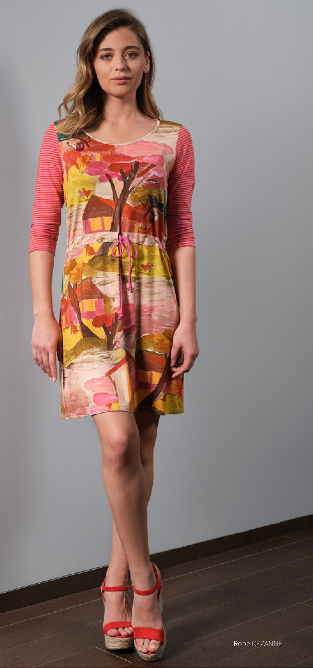 Paul Brial: Pink Forest Canvas Pull Tie High Waist Midi Dress