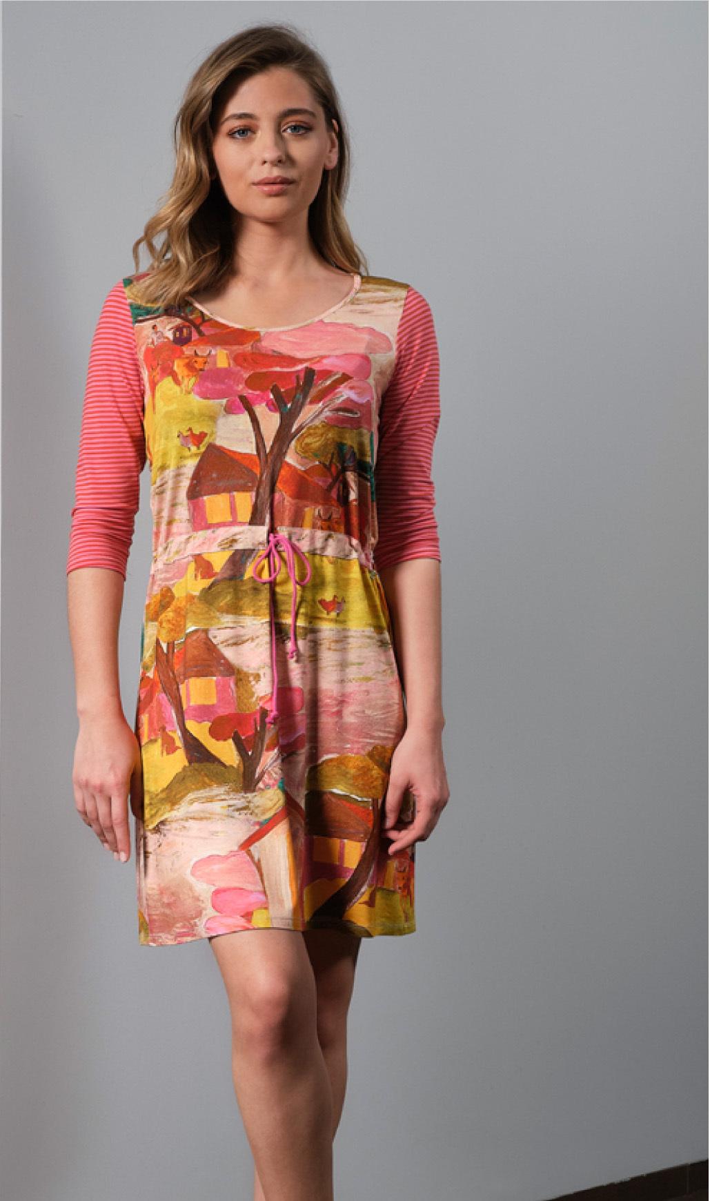 Paul Brial: Pink Forest Canvas Pull Tie High Waist Midi Dress PB_CEZANNE_N