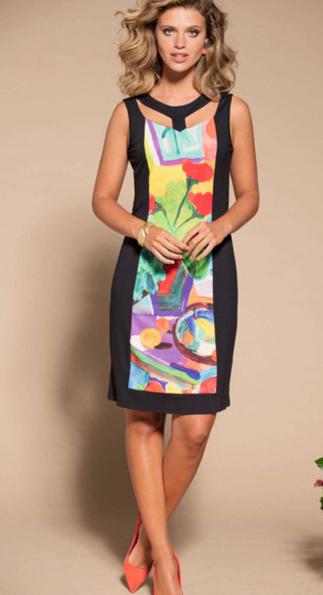 Maloka: Apples & Cherries Color Contrast Midi Dress (More Art Patterns!) MK_FLORENCE_N