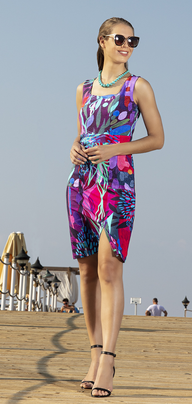 Simply Art Dolcezza: Color & Joy Tangle Of Leaves Abstract Art Midi Dress (2 Left!) Dolcezza_SimplyArt_20704_N