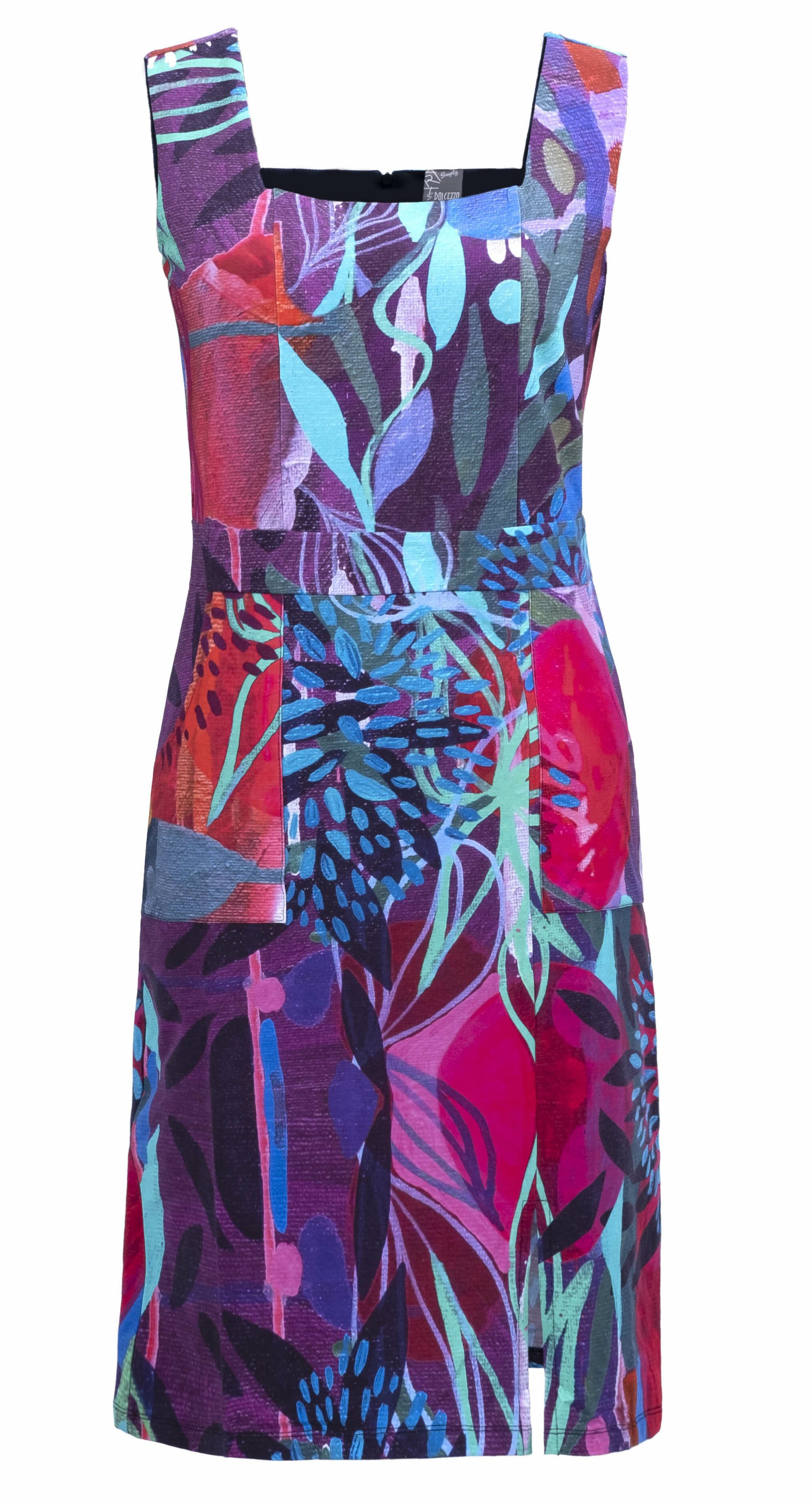 Simply Art Dolcezza: Color & Joy Tangle Of Leaves Abstract Art Midi Dress (2 Left!)