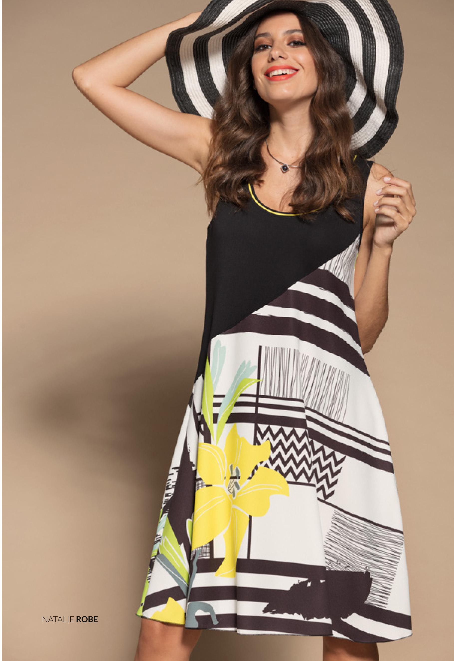 Maloka: Lemon Lime Marble Asymmetrical Bodice Dress/Tunic (Comes In 2 Art Patterns!) MK_NATALIE_N1