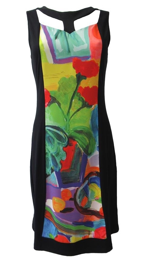 Maloka: Apples & Cherries Color Contrast Midi Dress (More Art Patterns!)
