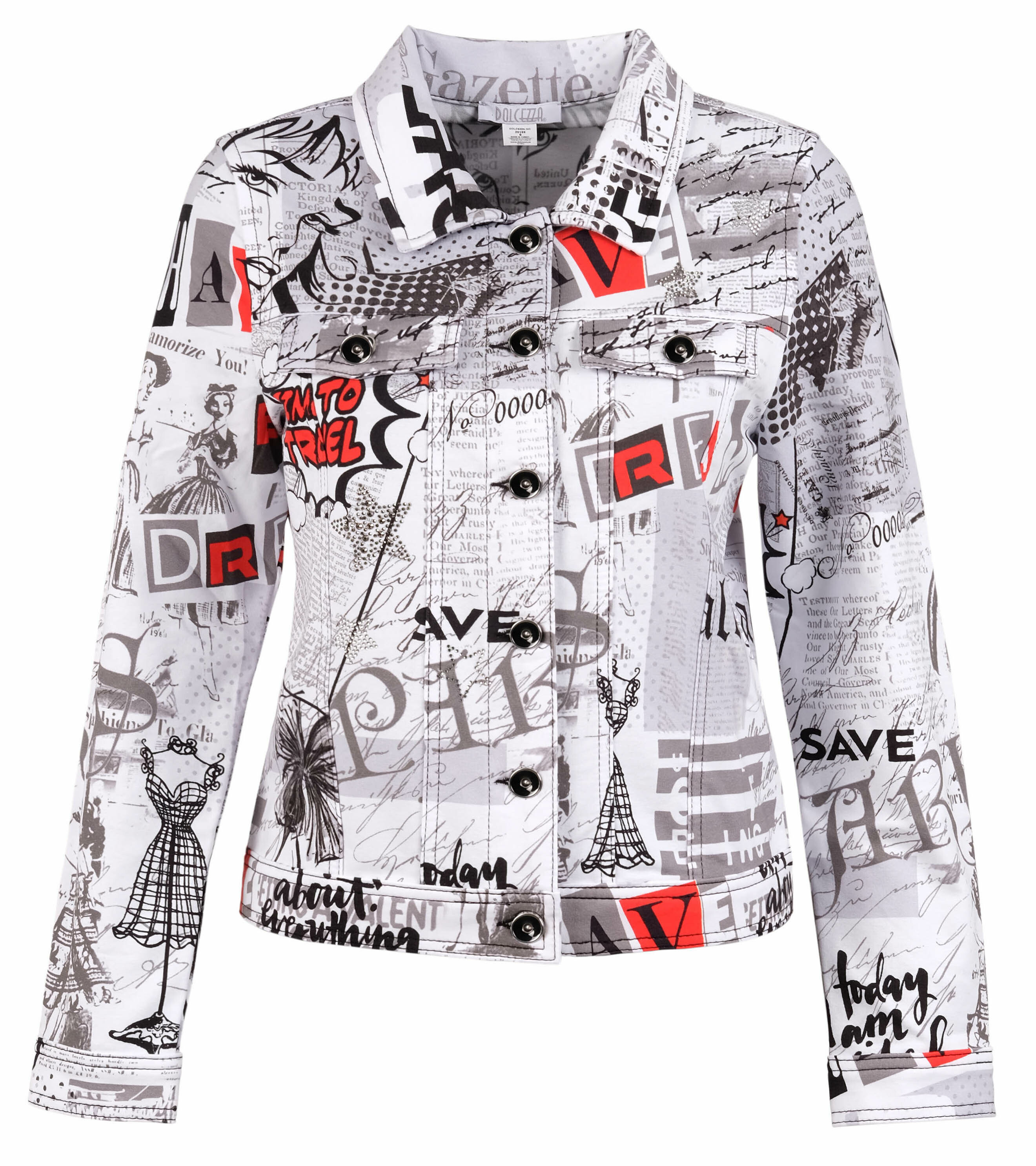 Dolcezza: Vintage Newspaper Boudoir Soft Denim Jacket (More Arrived!) DOLCEZZA_20168_N1