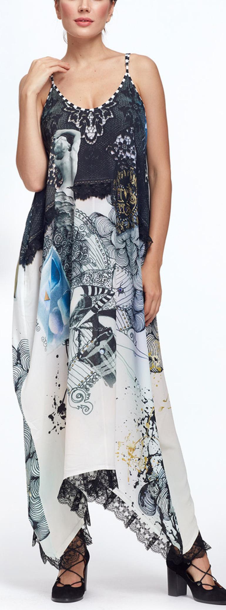 IPNG: Love Me Black Bejeweled Illusion V-Cut Maxi Dress IPNG_LMBDVN-078