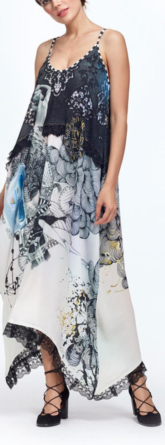 IPNG: Love Me Black Bejeweled Illusion V-Cut Maxi Dress