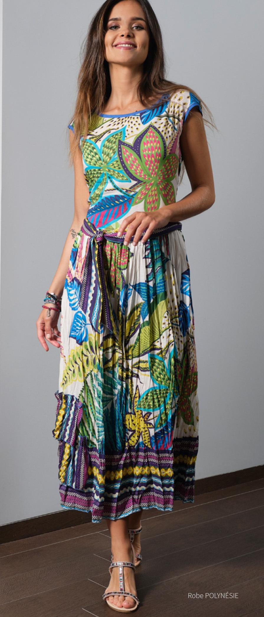Paul Brial: French Polynesian Flower Crinkled Hem Maxi Dress PB_POLYNESIE_N