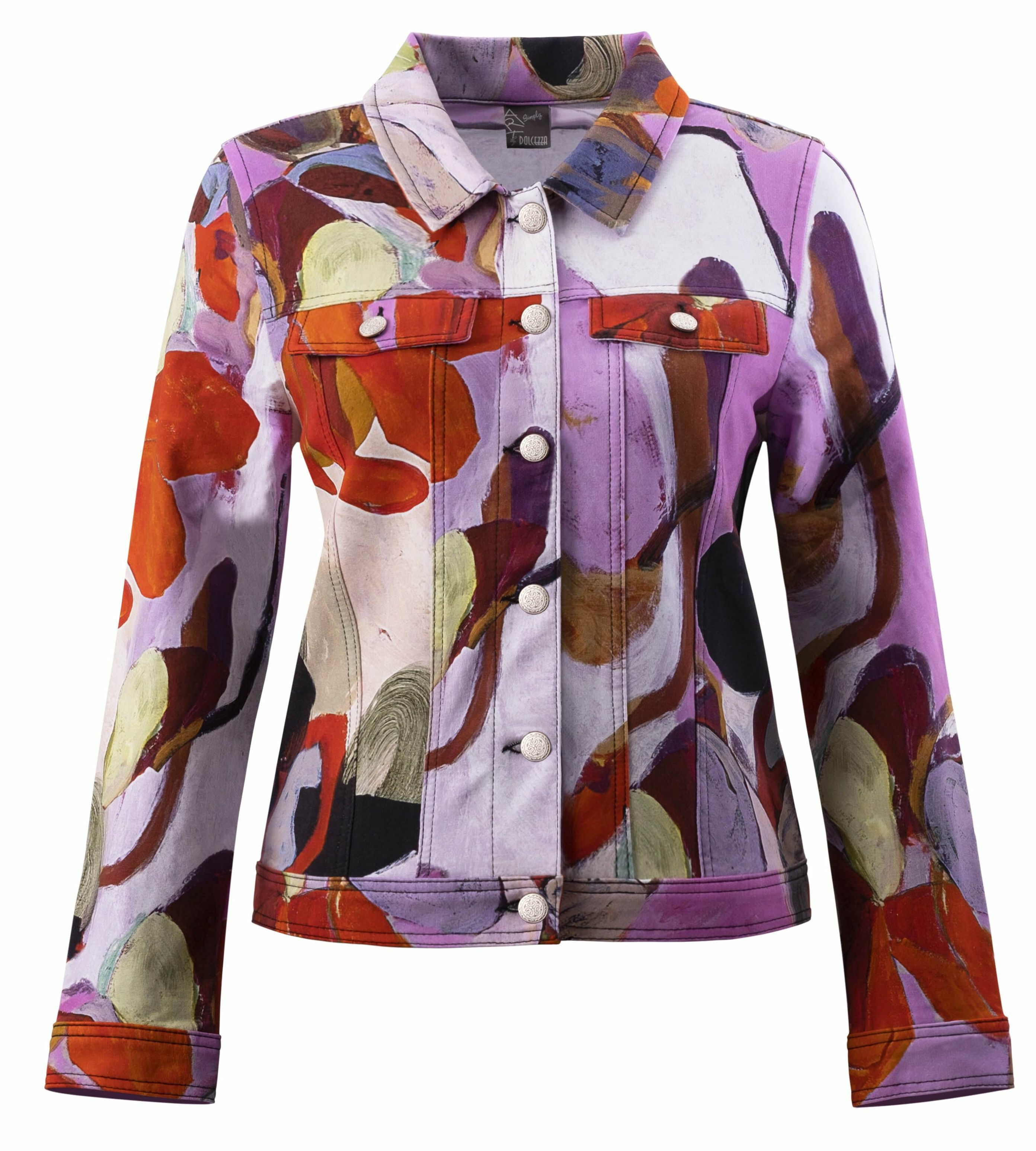 Simply Art Dolcezza: Blooms In Rouge Abstract Art Denim Jacket (1 Left!) DOLCEZZA_SIMPLYART_20726_N