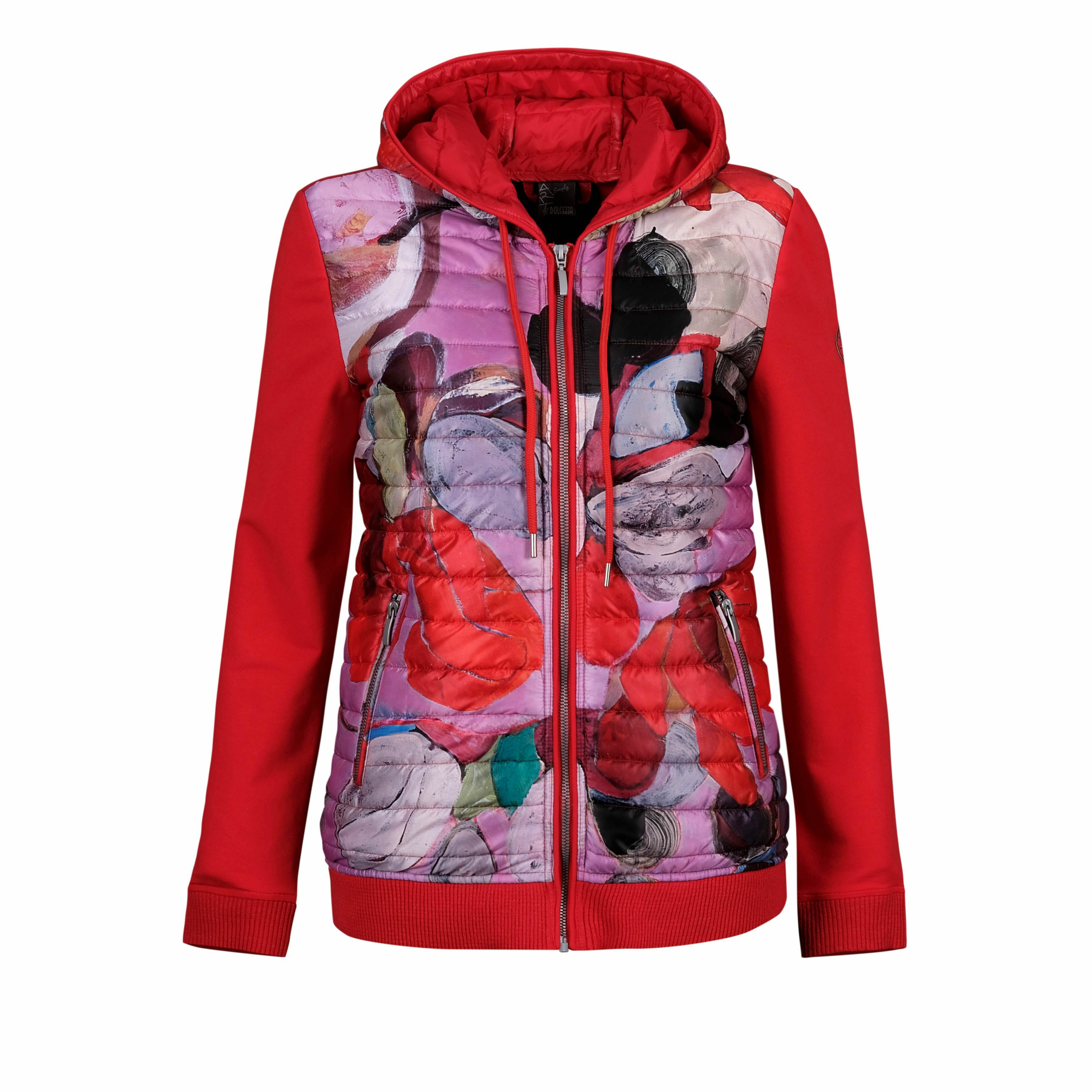 Simply Art Dolcezza: Blooms In Rouge Abstract Art Puff Hoodie Jacket (2 Left!) DOLCEZZA_SIMPLYART_20811_N