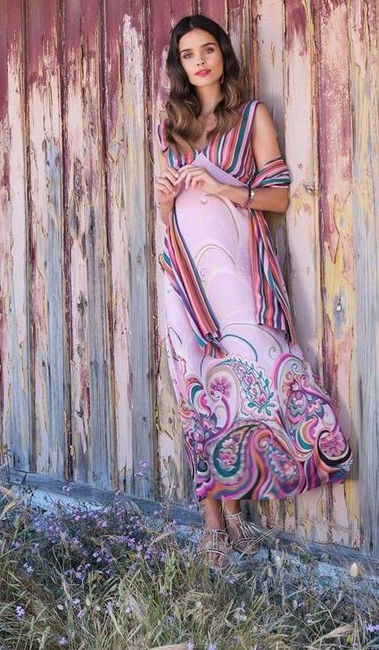 Paul Brial: Festival Of Pink Purple Blooms Maxi Dress