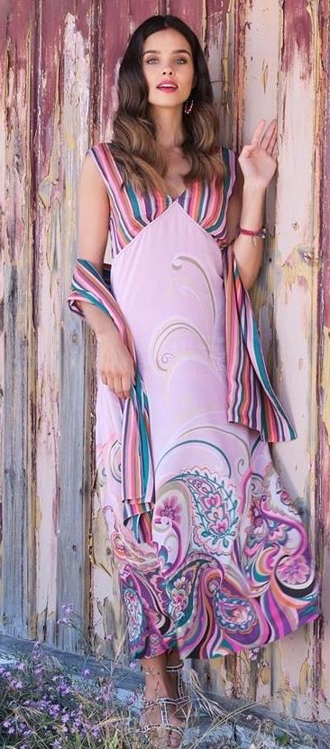 Paul Brial: Festival Of Pink Purple Blooms Maxi Dress PB_IVRESSE