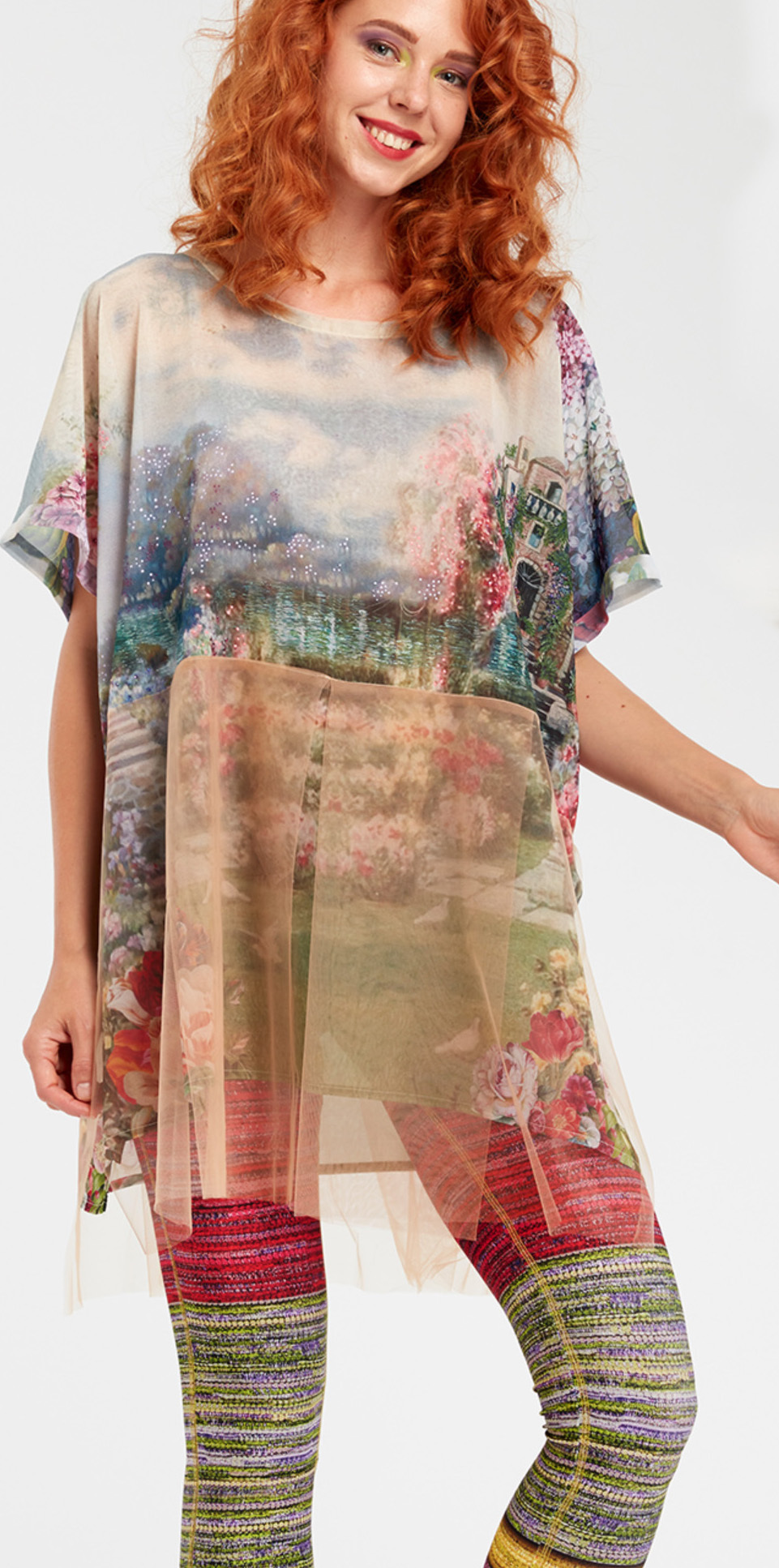IPNG: In Paradiso Cherry Carnation Fairytale Long Blouse Tunic (Ship Immed, 1 Left!) IPNG_IPBTI-081
