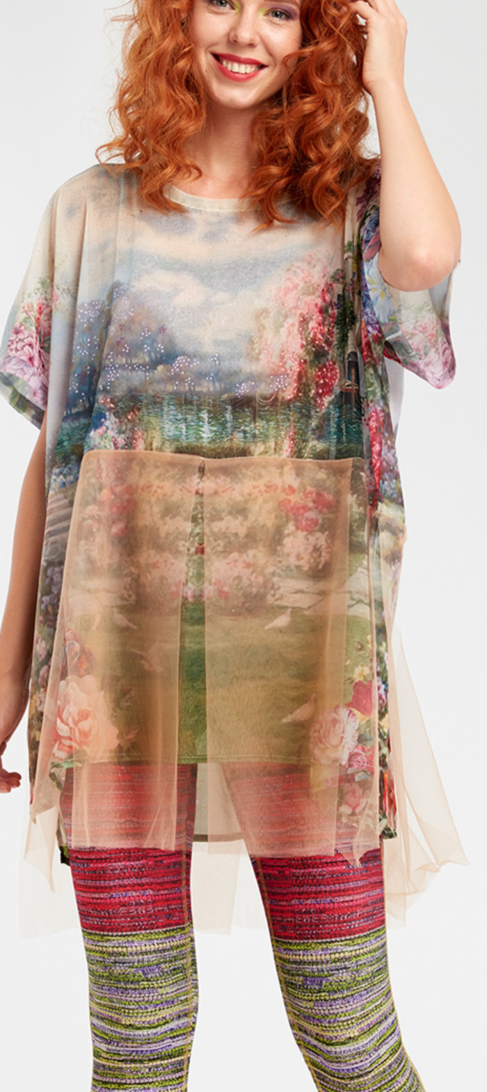 IPNG: In Paradiso Cherry Carnation Fairytale Long Blouse Tunic (Ship Immed, 1 Left!)
