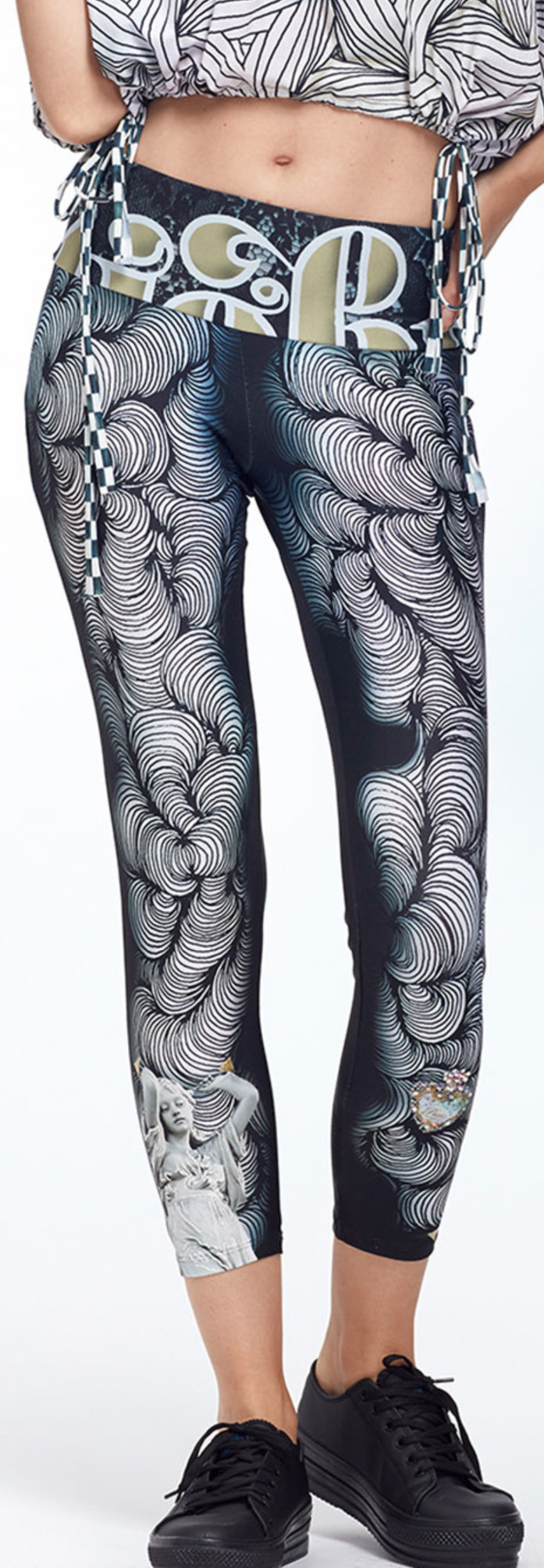 IPNG: Love Me Black Dance Spin Illusion High Waisted Legging (Some Ship Immed!) IPNG_LMBL-078