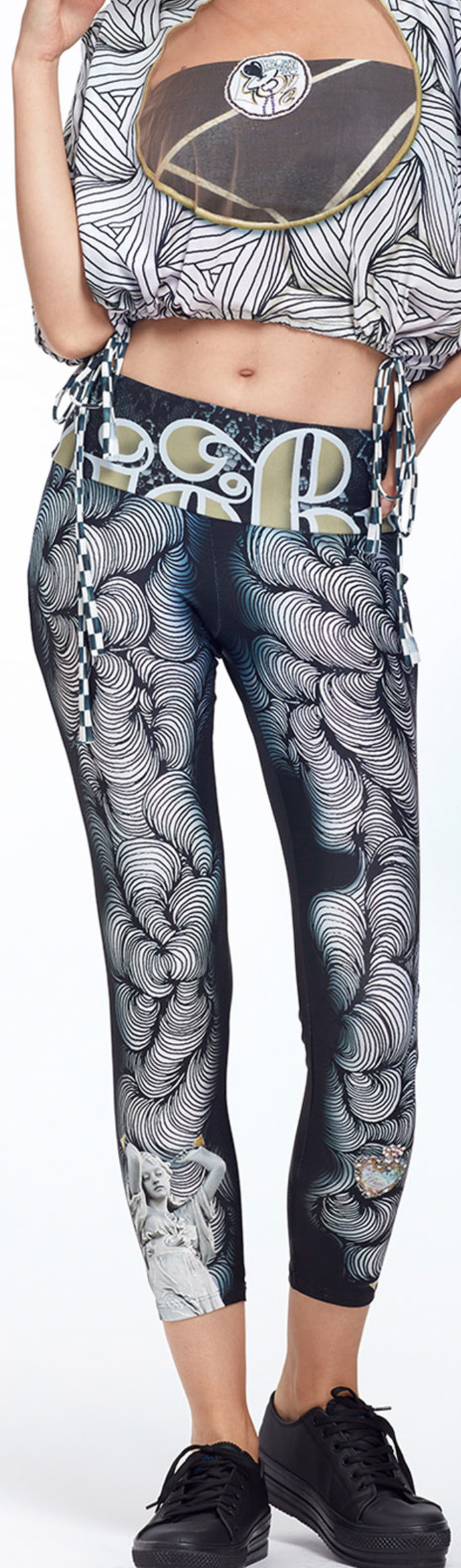IPNG: Love Me Black Dance Spin Illusion High Waisted Legging (Some Ship Immed!)