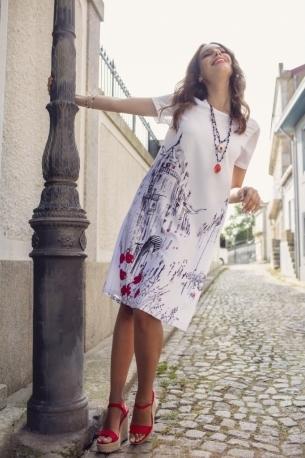 Maloka: A Day In Paris Abstract Art Midi Dress MK_BAILEY